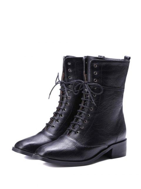 shops Chunky Heel Zipper Square Toe Short Boots - BLACK 37 Mobile