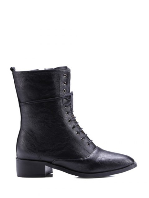 shop Chunky Heel Zipper Square Toe Short Boots - BLACK 39 Mobile