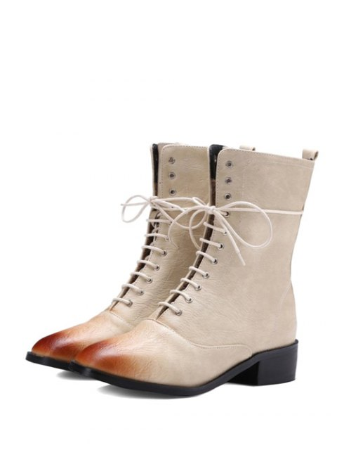 fashion Chunky Heel Zipper Square Toe Short Boots - OFF-WHITE 37 Mobile