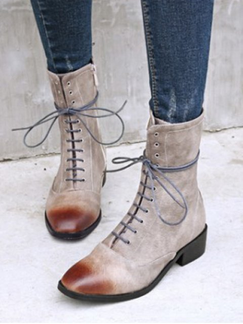 womens Chunky Heel Zipper Square Toe Short Boots - GRAY 38 Mobile