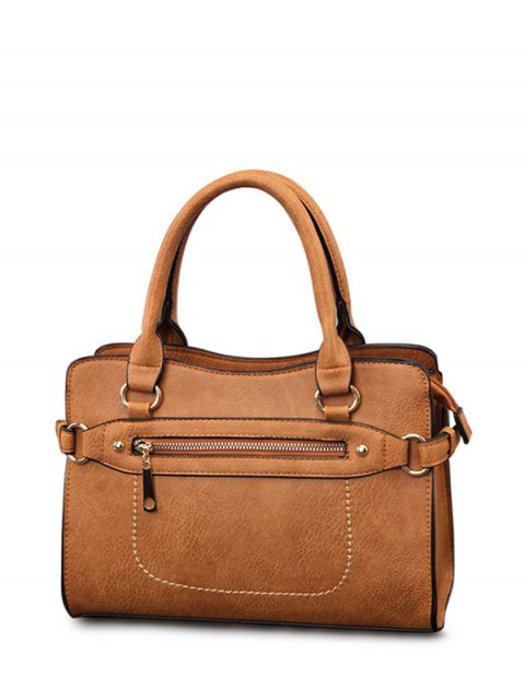 buy Stitching Zip Textured PU Leather Tote - BROWN  Mobile