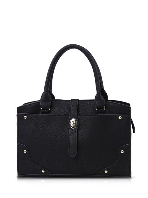women's Rivet Metal PU Leather Handbag - BLACK  Mobile