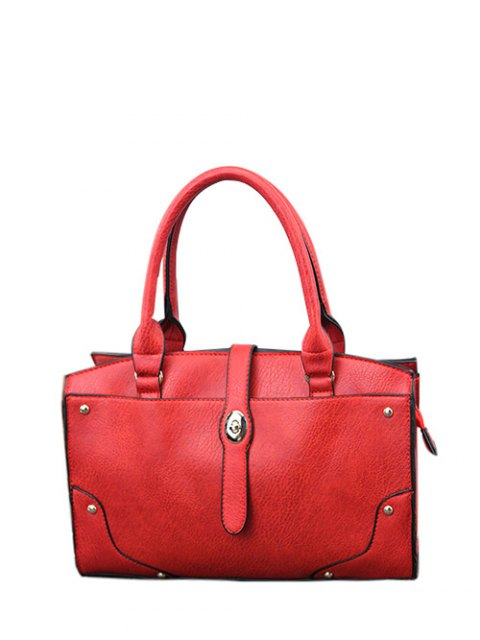 ladies Rivet Metal PU Leather Handbag - RED  Mobile