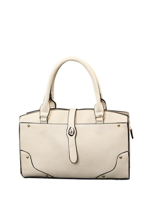 lady Rivet Metal PU Leather Handbag - WHITE  Mobile