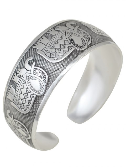 outfits Elephant Carving Cuff Bracelet -   Mobile