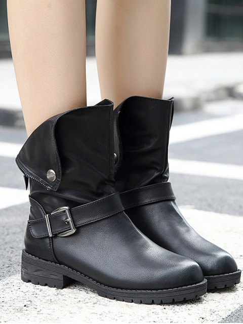 online Belt Buckle Zipper Short Boots - BLACK 40 Mobile