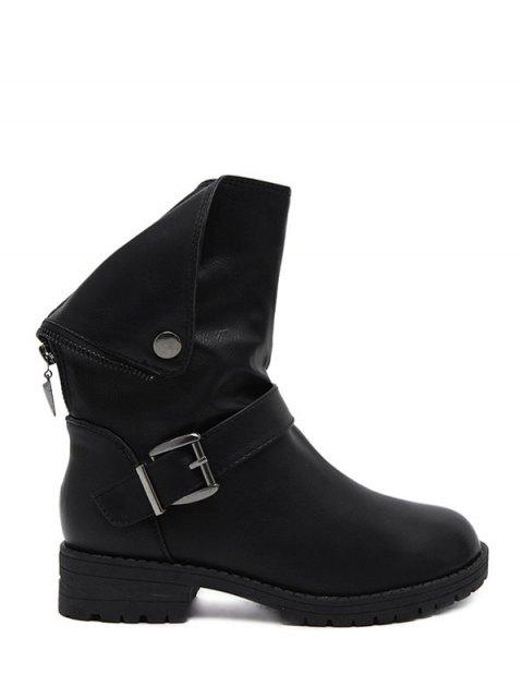 best Belt Buckle Zipper Short Boots - BLACK 39 Mobile