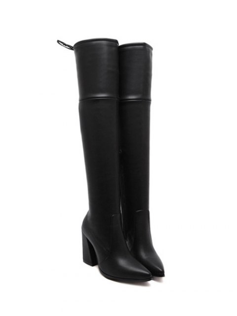 outfit Tie Up Zipper Pointed Toe Thigh Boots - BLACK 39 Mobile