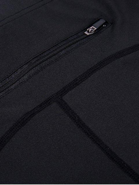 affordable High Waist Skinny Yoga Leggings - BLACK XL Mobile