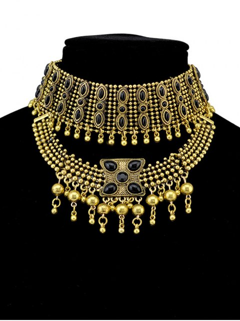 fancy Faux Gem Beads Tassel Necklace - GOLDEN  Mobile