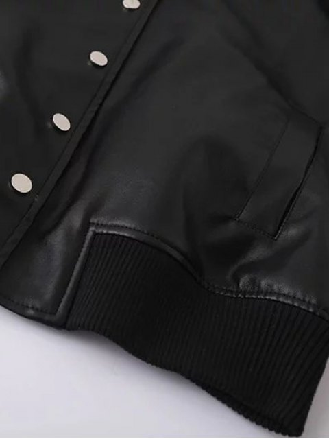 trendy PU Panel Baseball Jacket - BLACK L Mobile