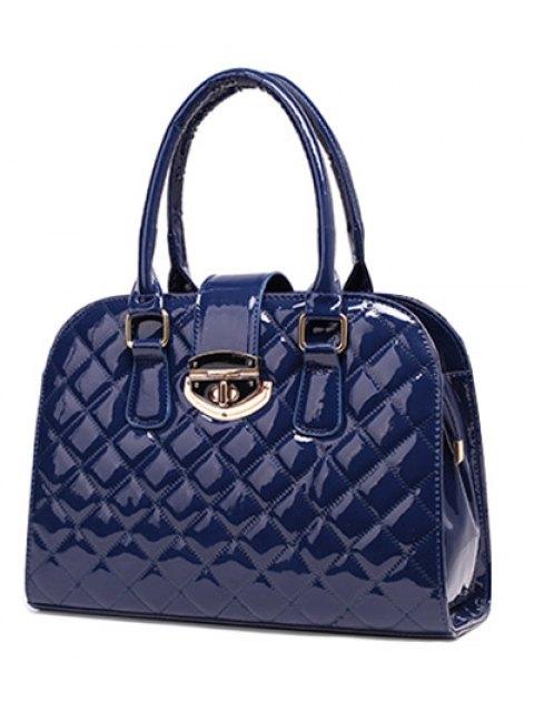 trendy Rhombic Patent Leather Handbag - DEEP BLUE  Mobile