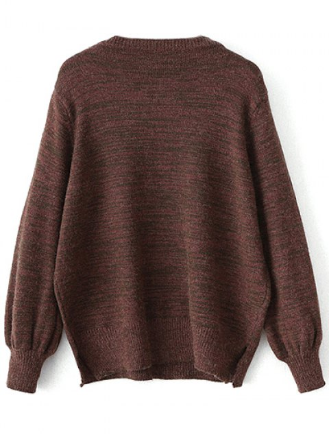 latest Heathered Slit Sweater - CLARET ONE SIZE Mobile