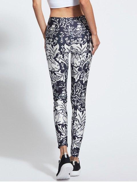 buy Skinny Floral Print High Waist Yoga Leggings - COLORMIX XL Mobile