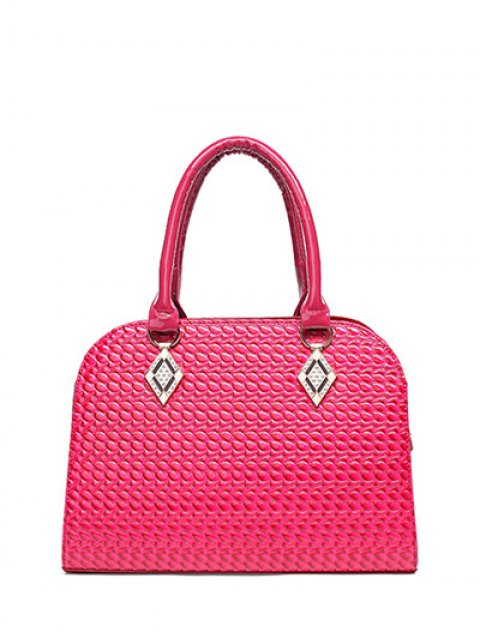 chic Patent Leather Embossed Handbag - ROSE RED  Mobile