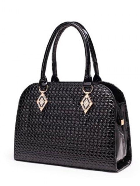 fancy Patent Leather Embossed Handbag - GOLDEN  Mobile