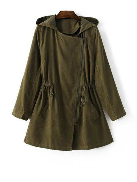 affordable Hooded Suede Anorak Coat - GREEN M Mobile
