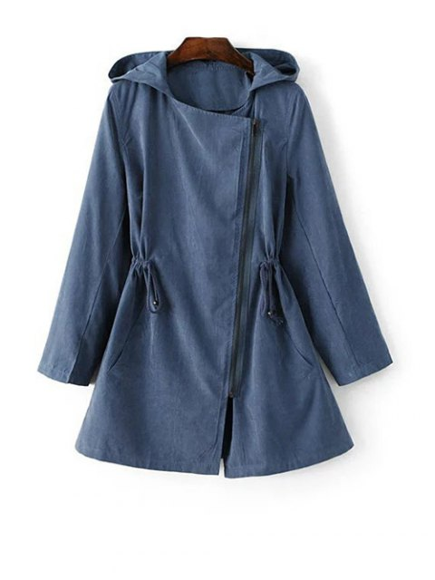 women Hooded Suede Anorak Coat - BLUE M Mobile