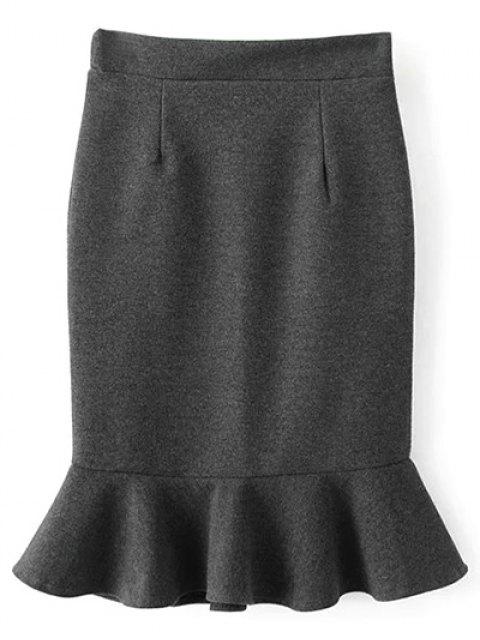 fashion High Waist Turmpet Skirt - GRAY M Mobile