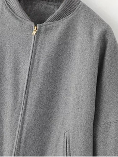 ladies Stand Neck Zippered Long Baseball Coat - GRAY L Mobile