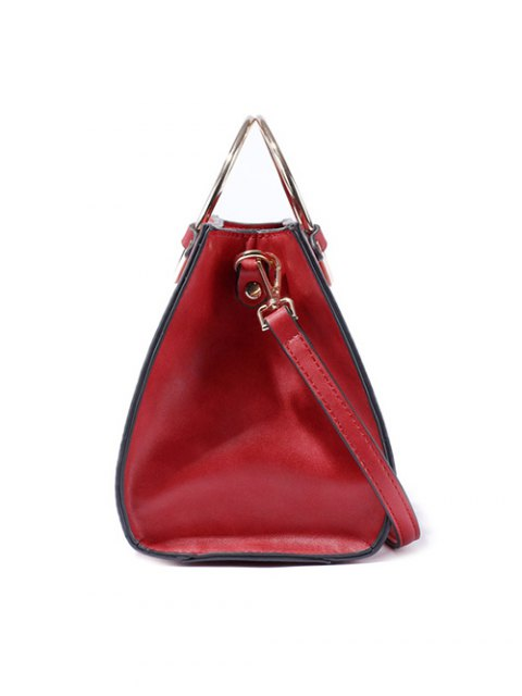unique Metal Ring PU Leather Handbag - RED  Mobile