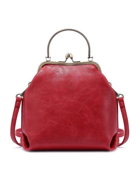 affordable Vintage Metal Trimmed Fringe Bag - RED  Mobile