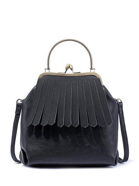 womens Vintage Metal Trimmed Fringe Bag - BLACK  Mobile