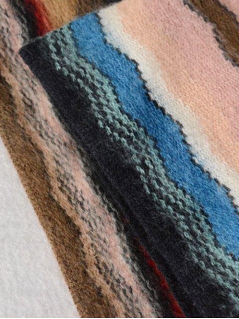 shop Wave Stripe Tassel Knit Scarf -   Mobile