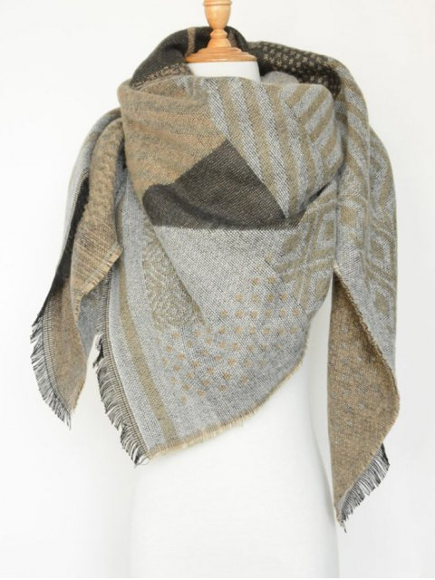 shops Aztec Geometry Fringed Knit Scarf -   Mobile