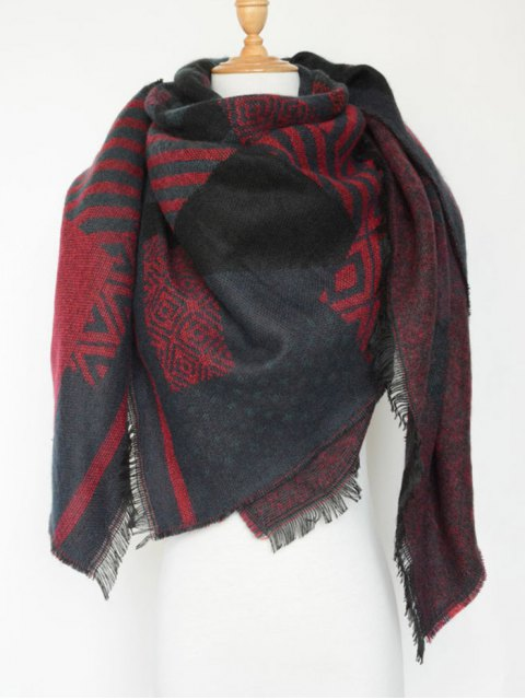 latest Aztec Geometry Fringed Knit Scarf -   Mobile