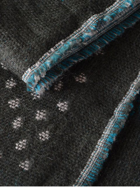 fashion Aztec Geometry Fringed Knit Scarf -   Mobile