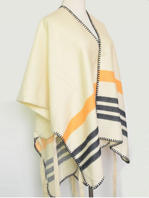 fancy Striped Stitch Hemming Pashmina -   Mobile