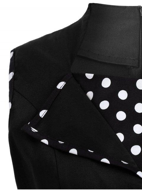fancy Vintage Sleeveless Polka Dot Dress - BLACK M Mobile