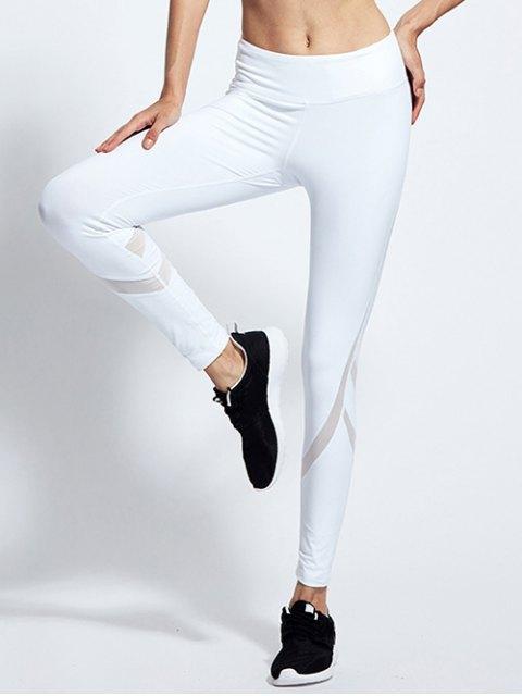 women High Waist Mesh Panel Tight Yoga Leggings - WHITE M Mobile