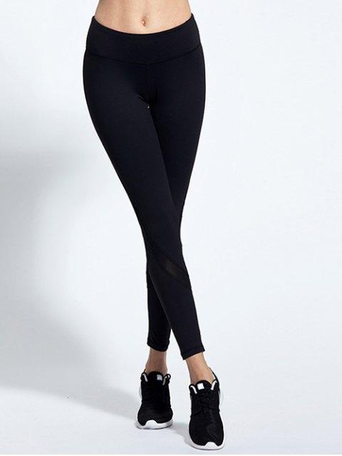 women's High Waist Mesh Panel Tight Yoga Leggings - BLACK M Mobile