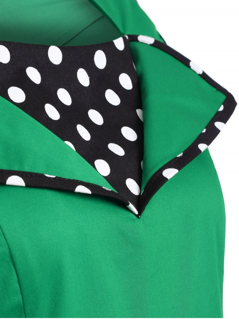 trendy Vintage Sleeveless Polka Dot Dress - GREEN XL Mobile