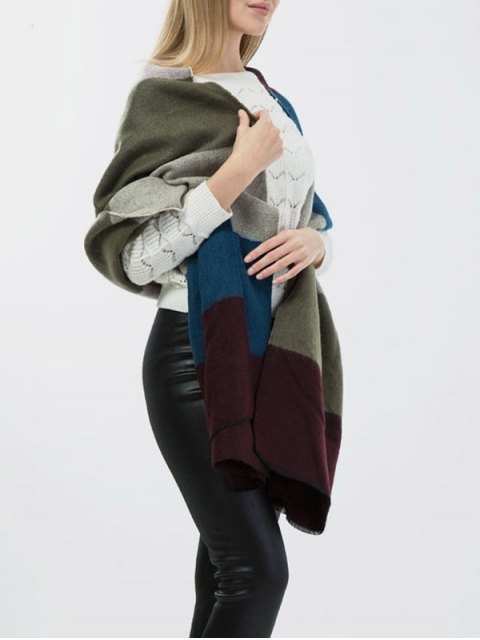 sale Color Block Wide Striped Knitted Scarf -   Mobile