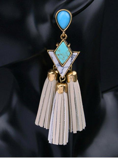 ladies PU Leather Turquoise Geometric Tassel Earrings - WHITE  Mobile