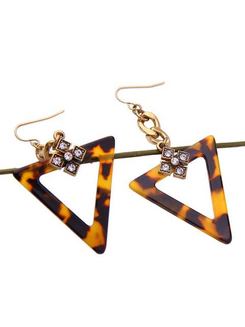 lady Leopard Print Rhinestone Triangle Earrings - LEOPARD  Mobile