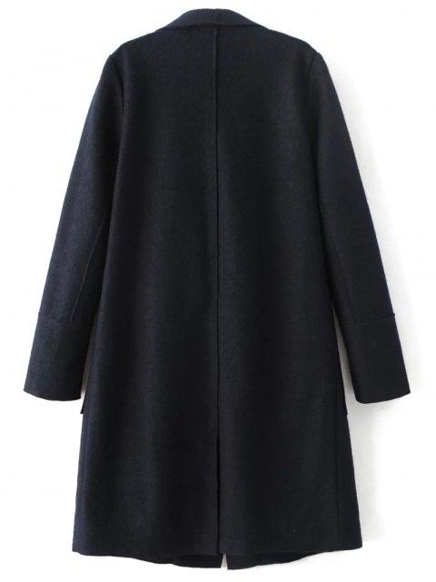 online Turndown Collar Woolen Blend Coat - CADETBLUE L Mobile