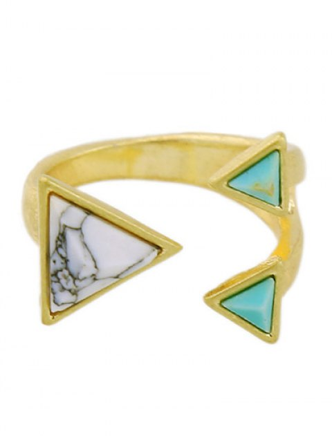 outfit Artificial Turquoise Triangle Ring -   Mobile