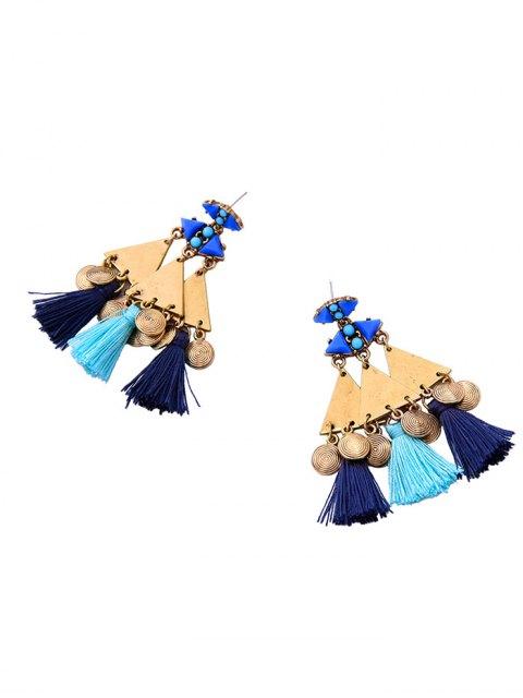 best Vintage Geometric Tassel Drop Earrings - BLUE  Mobile