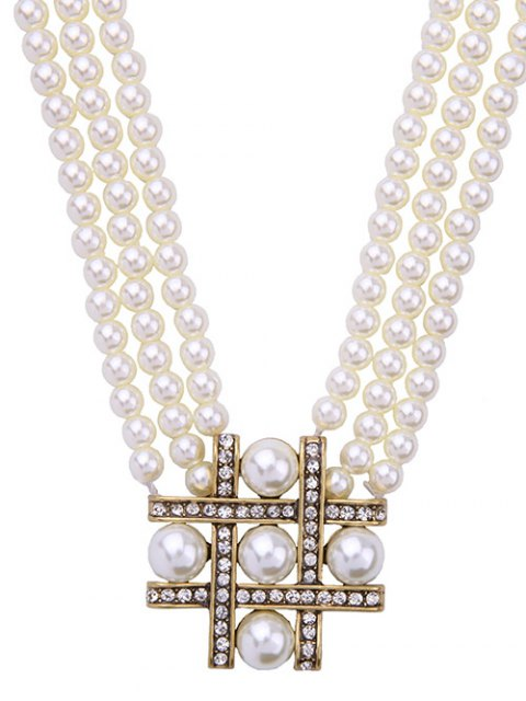 women's Multilayered Faux Pearl Beaded Necklace -   Mobile
