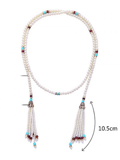 lady Rhinestone Faux Pearl Beaded Necklace -   Mobile