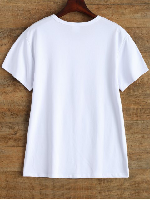 fancy Jewel Neck Letter Cotton Tee - WHITE L Mobile