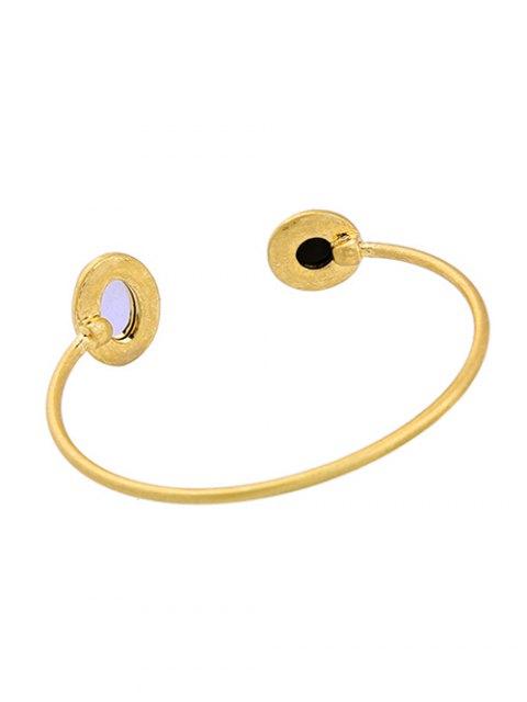 chic Artificial Gemstone Rhinestone Cuff Bracelet - GOLDEN  Mobile