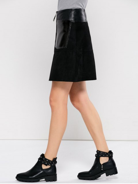affordable PU Leather Panel A Line Skirt - BLACK XL Mobile