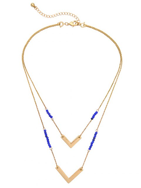 new Layered V Shaped Beads Necklace - GOLDEN  Mobile