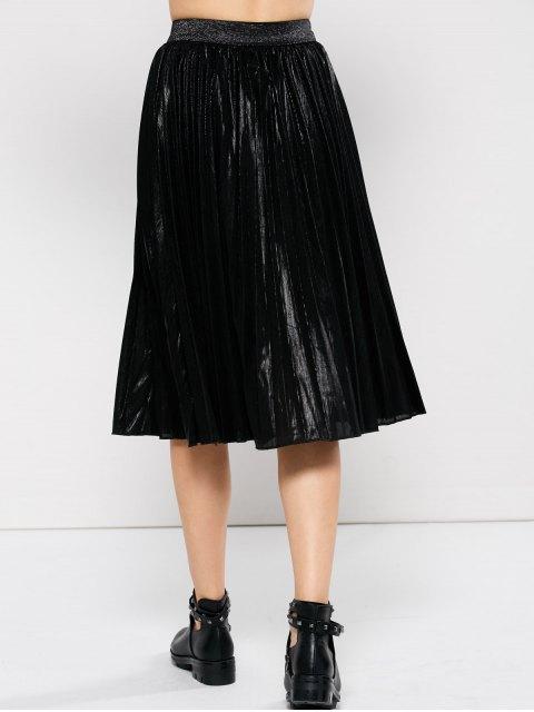 ladies Pleated Tea Length Skirt - BLACK L Mobile