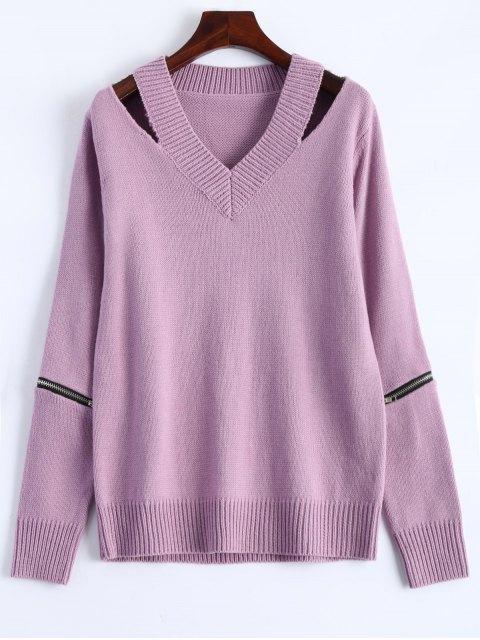 fancy Pullover Zipper V Neck Sweater - PINK 2XL Mobile